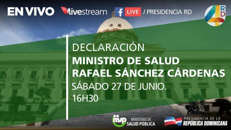 Presidencia cancela declaratoria del ministro de salud anunciada para las 4:30pm de este sábado