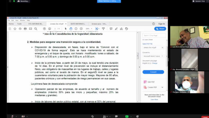 Comisión Bicameral da seguimiento a declaratoria de estado de emergencia solicitará a Salud Pública y a Comisión de Alto Nivel los protocolos a implementar previo al proceso electoral del 5 de julio