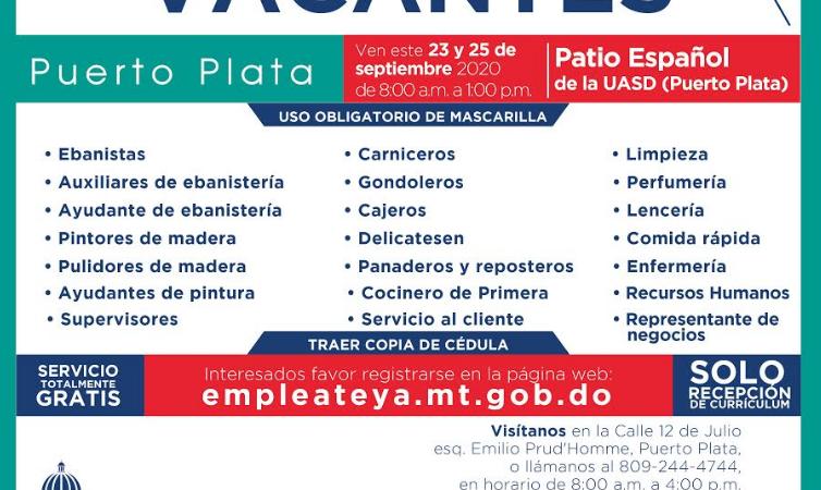 Dirección General de Empleo solicita interesados depositar currículum vitae para vacantes de empleo en Puerto Plata