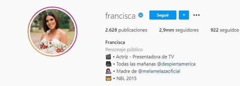 Francisca elimina el apellido Lachapel de sus redes sociales